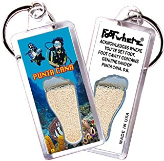 """product image for Punta Cana """"FootWhere"""" Keychain (PC102 - Divers). Authentic Destination Souvenir acknowledging Where You've Set Foot. Genuine Soil of Featured Location encased Inside Foot Cavity. Made in USA"""