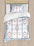 Ambesonne Hockey Twin Size Duvet Cover Set, Ice Hockey Field in Blue Tones and Red Graphic Outline for Sport Events, Decorative 2 Piece Bedding Set with 1 Pillow Sham, Blue Red Pale Blue