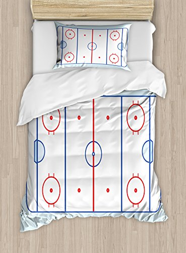 Ambesonne Hockey Twin Size Duvet Cover Set, Ice Hockey Field in Blue Tones and Red Graphic Outline for Sport Events, Decorative 2 Piece Bedding Set using 1 Pillow Sham, Blue Red Pale Blue Black Friday & Cyber Monday 2018