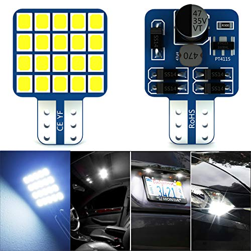 T10 LED Bulbs, YANF 921 912 194 168 LED Bulbs 12-24V White 20SMD 2835 LED Replacement for Plate Camper Boat Truck Trailer Ceiling Dome Interior Light Bulbs (Pack of 2)
