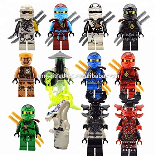 Threetush Ninjago Building Blocks Toys Minifigures with Accessories for Kids Set 12Pcs