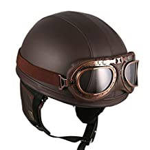 Motorcycle Vintage Style Goggles Retro Helmet Brown