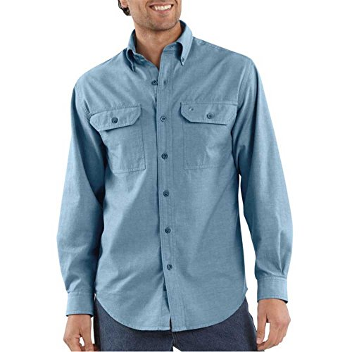 Carhartt Men's Fort Long Sleeve Shirt Lightweight Chambray Button Front Relaxed Fit,Blue Chambray,Large