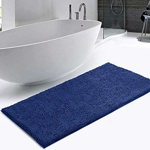 KMAT Bath Mat Rug Nonslip Plush Chenille Bathroom mat Quick Absorbent 28″ x 47″ Blue Large Bath Rug for Bathroom Floor Tub Shower Bedroom Living Room,Machine Wash/Dry