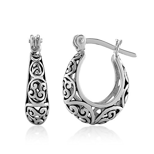 925 Oxidized Sterling Silver Bali-Inspired Open Filigree Hoop Post (Filagree Hoop)