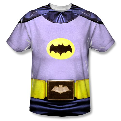 Batman Adam West Costume (Batman TV Series - Men's T-Shirt Batman Costume design , 2XL, White)