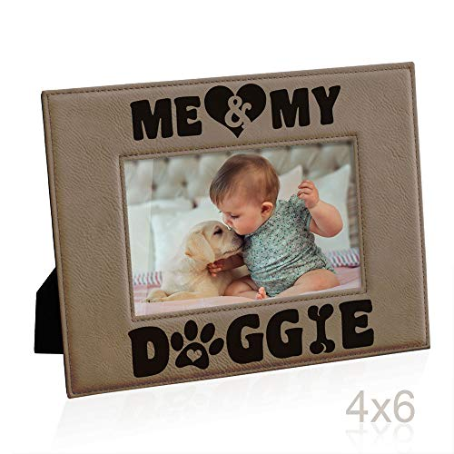 Kate Posh - Me & My Doggie Engraved Leather Picture Frame - Dog Lover, Puppy and Baby Gifts. My Best Friend, Dog Mom (4x6-Horizontal) (Turkey Picture Frame)