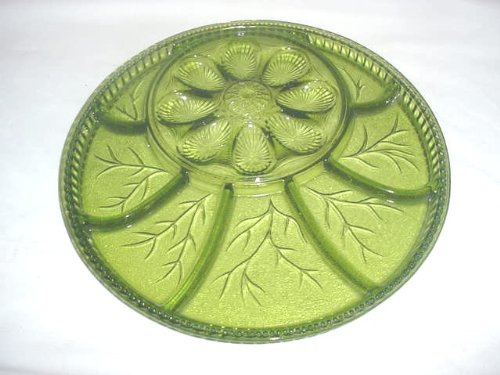 Green Glass Relish - Olive Green Glass Egg and Relish Tray