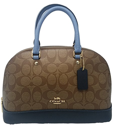 Coach Womens Mini Sierra Satchel Handbag, Crossgrain Leather, Detachable Crossbody Strap (khaki/midnight)