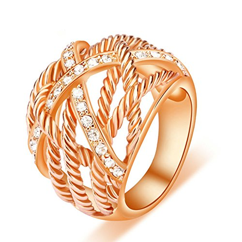 Ring Plated Brass Gold (UNY Ring Twisted Cable Wire Weave Designer Fashion Brand David Womens Vintage Valentine Love Gifts Rings (rose-gold-plated-brass, 6))