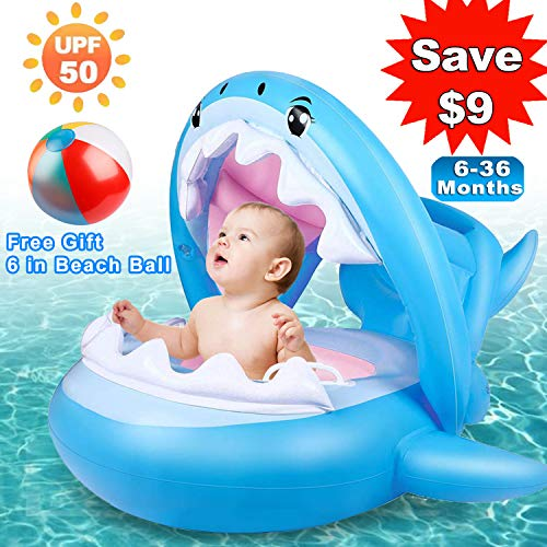 Baby Pool Float, Shark Baby Swimming Float with Sunshade Canopy Inflatable Swim Floaties Boat Floating for Infant Toddlers Kids Age 6 - 36 Months Comfortable Lounger Pool Toys for Summer ()