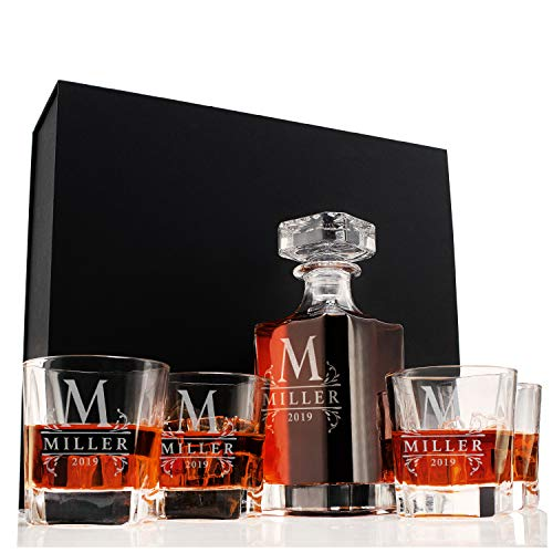 Amazing Items Personalized 5 pc Whiskey Decanter Set - 9 Design Options - Limited Edition Custom Liquor 26 oz, 750ml Crystal Decanter w/ 4pcs Whiskey Glass Set, Scotch Gift for Men, Jarra de Whisky #1