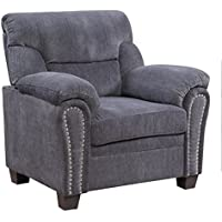 Furniture World Jefferson Armchair, Gray Chenille Fabric