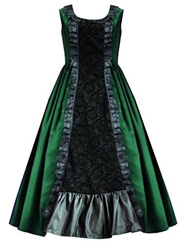 Cykxtees-Victorian-Valentine-Steampunk-Gothic-Civil-War-Womens-Velvet-Gown-S-Green