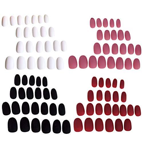 Lurrose 96Pcs Round Nail Tips Colorful Matte Gel Full Cover Nails Art Tips Sets Nail Supplies for Salons and DIY Nail Art]()