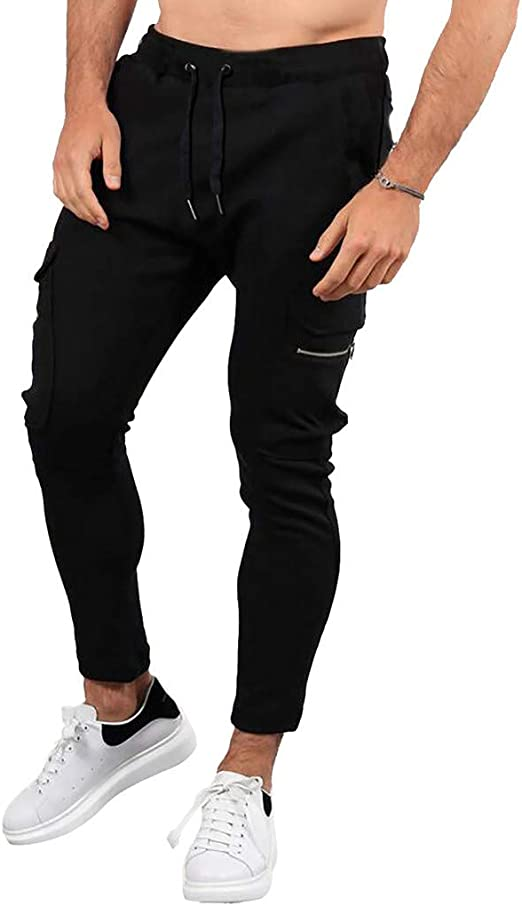WAWAYA Mens Jogger Casual Elastic Waist Drawstring Workout Long Pants
