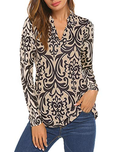 Ladies Tops Plus Size,Halife Womens Casual Print Tunic V Neck Top Blouse Henley Shirts Beige XXL 2X (Sleeve V-neck Tank Top Long)