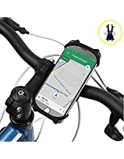 Bike Phone Mount, Amtake Universal Adjustable Silicone Bicycle Motorcycle Handlebar Phone Holder for Cycling GPS/Map/Time/Music, Fit for iPhone XS/XR/8/8 Plus, Samsung S9/S8 and Other Devices Phones