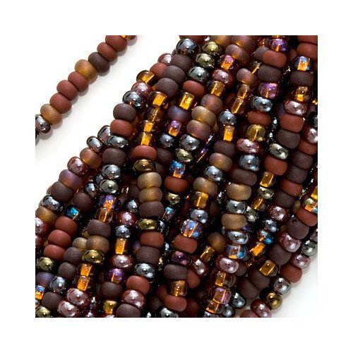 Jablonex Czech Seed Beads 8/0 Chocolate Mud Pie Mix Brown (1 hank - 3000 beads)