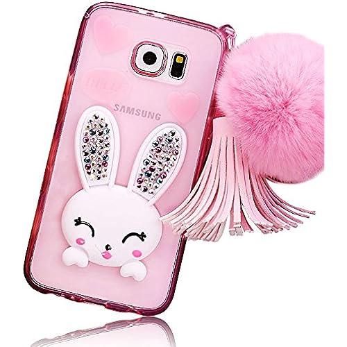 samsung s7 case, Sunroyal Slim Soft Transparent TPU Crystal Clear 3D Cute Cartoon Rabbit [Bling Diamond Silicon Sales