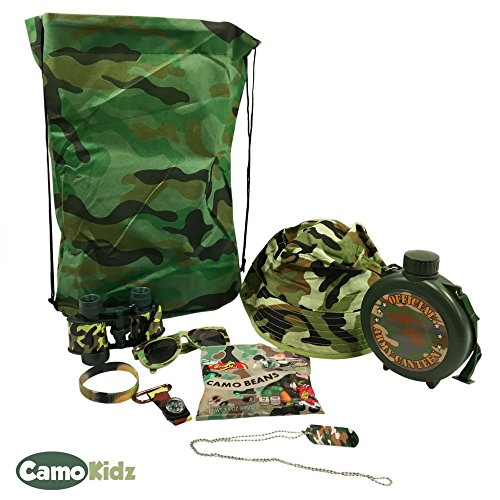Army Childrens Pattern Costume (Pretend Play Army Camo Camouflage Toys-Includes Toy Binoculars, Army Hat, Camo Jelly Belly Snack Pack and Much)