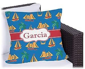 Barcos y palmeras al aire libre almohada (personalizado)