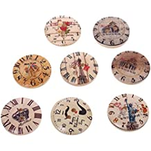 MAXGOODS 50Pcs Colorful Wood Buttons Handmade Tag label Embellishments Ornaments with 2 Holes Round Buttons Sew Accessories Scrapbooking Clothing Leather for Weeding Decor and Craft (Clock Pattern)