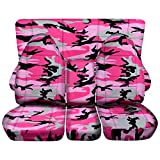 2002-2005 (3rd Gen) Dodge Ram 1500/2500/3500 Camo Truck Seat Covers (40/20/40 Split Front & Solid or 40/60 Rear Bench) w Center Console - Full Set: Pink (16 Prints) 2003 2004