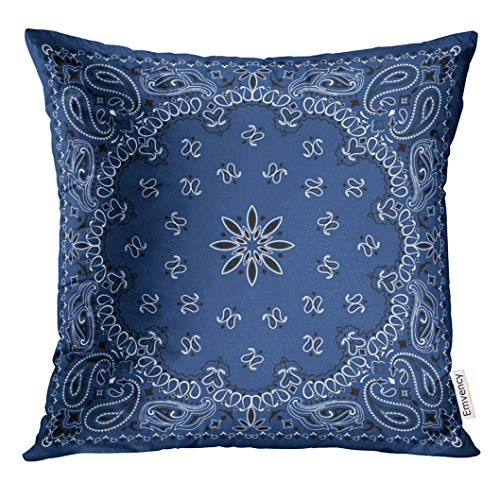 VANMI Throw Pillow Cover Black Border Blue Paisley Bandana Colorful Scarf Classic Decorative Pillow Case Home Decor Square 16x16 Inches Pillowcase ()
