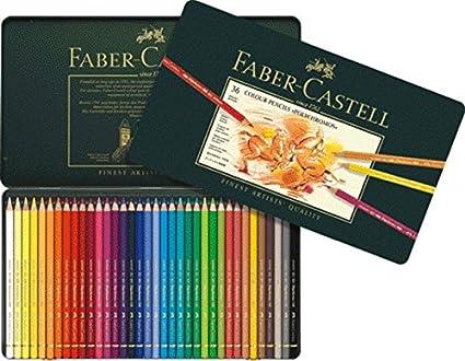 Lápices de color Faber-Castell 110012, policromo, 36 unidades en estuche de metal: Amazon.es: Juguetes y juegos