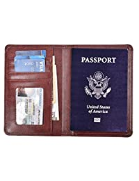 RFID Blocking Passport Holder Leather Wallet Id Card Cover Case Journey Pocket, New Brown