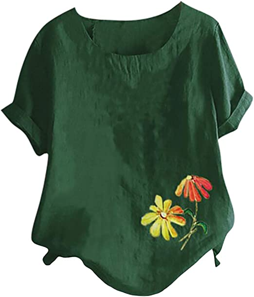 Meikosks Ladies Sun Flower Lettering Short Sleeve Top Round Neck Blouses Casual Loose T Shirt