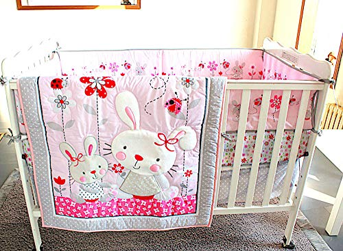 (BabyCrib Unique Cute Adorable, Rabbit, Pink and Gray, Flowers, 10 Piece Bedding Set, Including Crib Bumper, Diaper Stacker, and Bonus Baby Monthly Milestone Blanket for Newborn Baby Girl.)