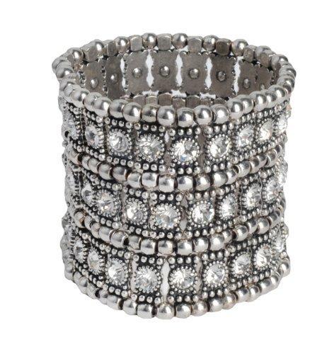 Lilly Rocket Triple Band Clear Rhinestone Bracelet Cuff Bangle