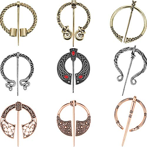 9 Pieces Vintage Viking Brooches Cloak Pins Scarf Shawl Buckle Clasp Pin Brooch Penannular Brooch for Costume Accessory, Antique Silver, Gold and Rose Gold