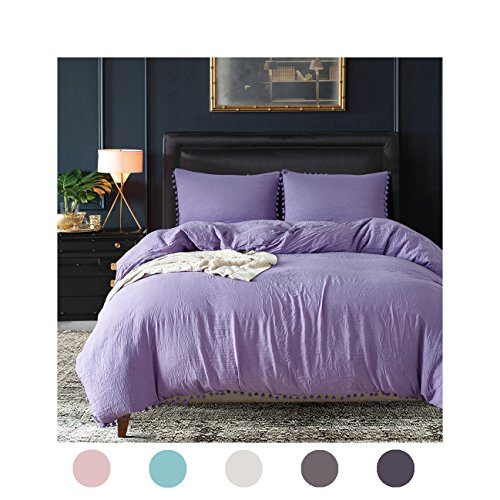 Moreover 2 Pieces Light Purple Duvet Cover Set Purple Bedding Ball Fringe Pattern Design Lavender Purple Bedding Set Twin One Duvet Cover One Ball Fringe Pillow Sham (Twin, Light Purple)