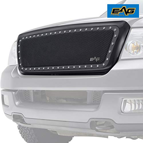 (EAG Rivet Stainless Steel Wire Mesh Grille with ABS Matte Black Shell Fit for 04-08 Ford)
