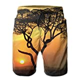 Ding Africa Tree Sunset Men's Quick Dry Beach Pants Swim Trunks Board Shorts with Pocket
