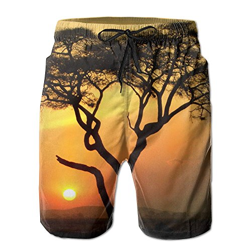 Ding Africa Tree Sunset Men's Quick Dry Beach Pants Swim Trunks Board Shorts with Pocket by Ding