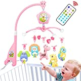 Baby mobile for crib, Baby plush Crib mobile With lights,music,Arm,Remote, Projector and toy for pack and play (Pink)