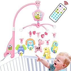 Baby Crib Mobile for Pack and Play, Baby Mobile for Crib with Lights and Music with Toy, arm, Projector (Pink-Forest)