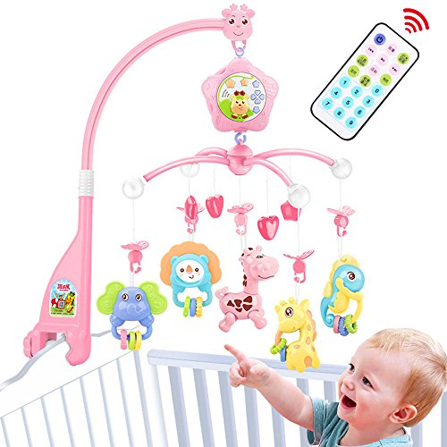 Baby Crib Mobile for Pack and Play, Crib Toys with Lights and Music,Carrier, Remote, arm, Projector for Girl, Stroller Accessories. Material: ABS+Plastic(Pink-Forest)