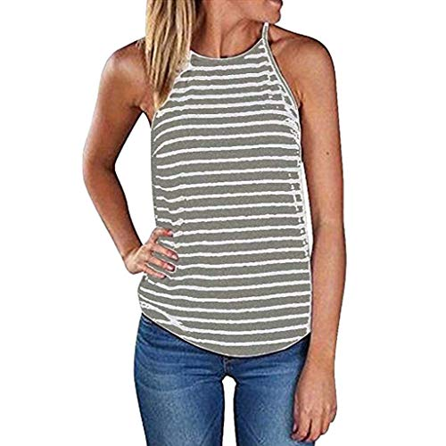 ANJUNIE Women Summer Strappy Stripe Sleeveless Blouse Casual Basic Tank Tops T-Shirt(Gray,XL) ()