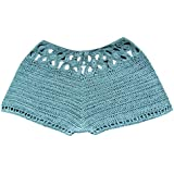Women's Solid Color Sexy Lace Beach Shorts Fitted Scallop Hem Crochet Mini Hot Pants Mint Green