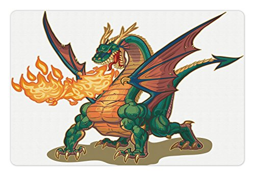 Ambesonne Dragon Pet Mat for Food and Water, Mythical Fire Spitting Monster Dreamy Mascot Reptilian Culture Cartoon, Rectangle Non-Slip Rubber Mat for Dogs and Cats, Dark Orange Hunter Green