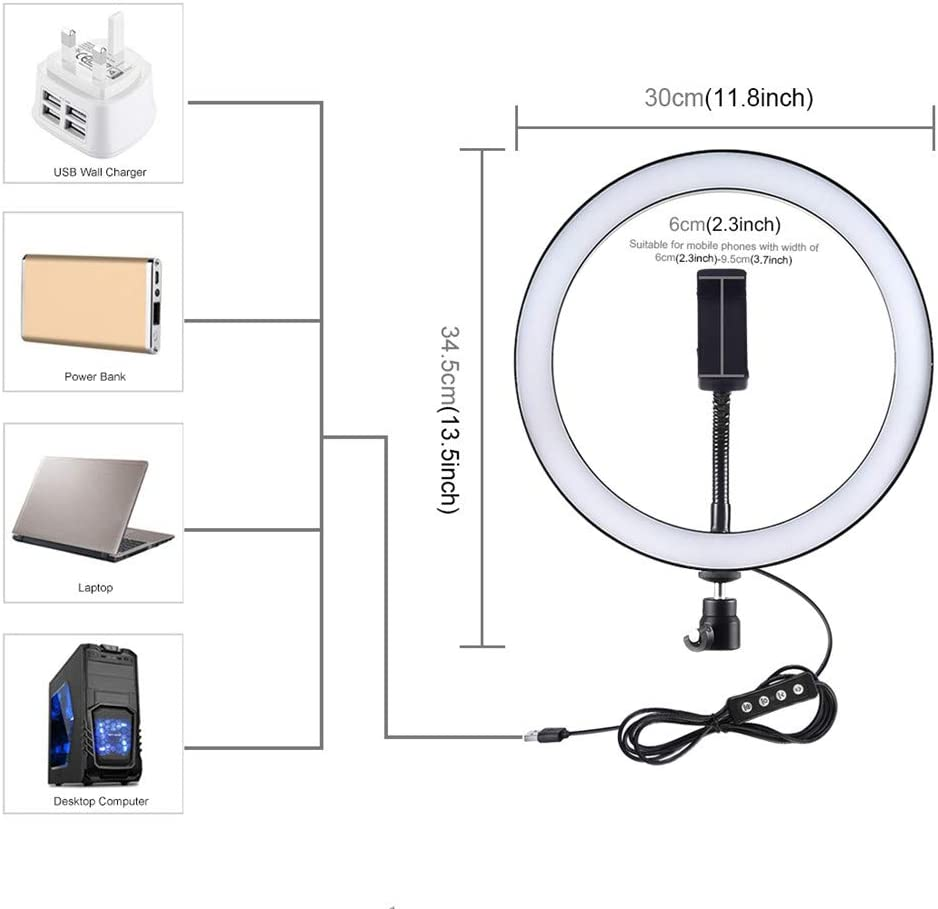 Photography Compatible with iPhone Android XINYAN LED Ring Light 9 with Phone Holder for YouTube Video,Ring Light 3 Light Dimmable for Streaming Makeup