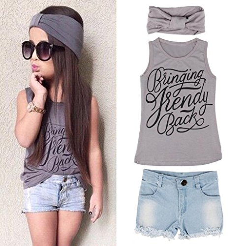 Price comparison product image LUNIWEI Girls 3PCS/Set Outfits Vest Tops + Short Jeans + Headband