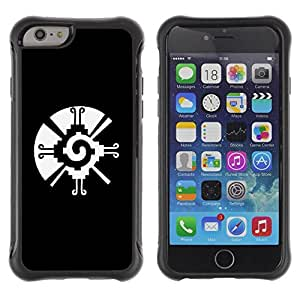 Suave TPU GEL Carcasa Funda Silicona Blando Estuche Caso de protección (para) Apple Iphone 6 / CECELL Phone case / / black white tribal native pattern vortex /