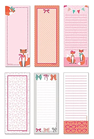 6 Magnetic Notepads - Haute Fox Series - 6 Different Designs on 3.5