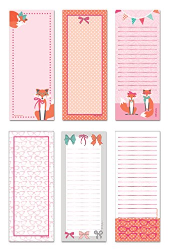 """6-Pack Magnetic Notepads for Fridge - to Do List - Grocery Shopping List - School Reminders - Unique Haute Fox Design Series Set - 50 Sheets - 3.5"""" x 9"""" Pads - by Note Card Café"""